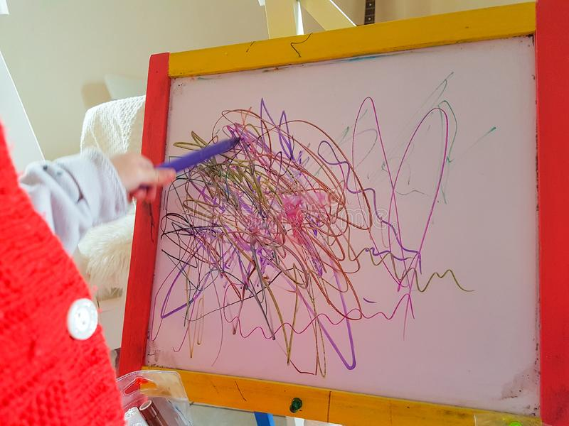 Children `s drawing abstract lines preschool age stock images