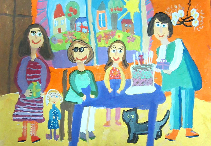 Children's drawing. Birthday party with family. Seven years. Happy family celebrating a birthday and gives gifts stock images