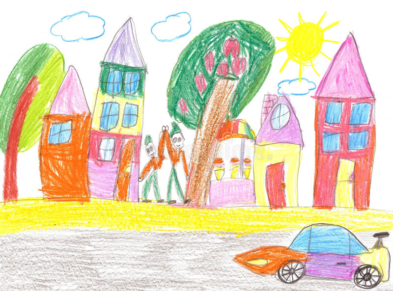 Children`s drawing of the car stock illustration