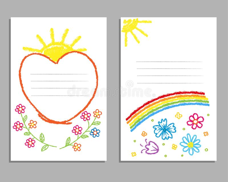 Children`s drawing with colored pencils. Cards with a rainbow, flowers, the sun. royalty free stock photos