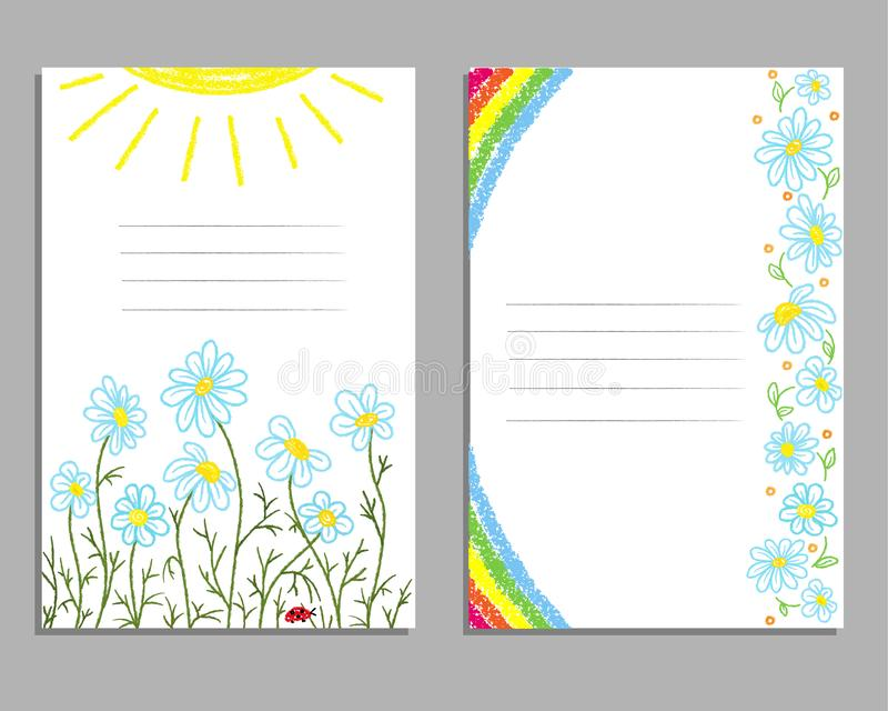 Children`s drawing with colored pencils and crayons. Cards with a rainbow, flowers, daisies and the sun. royalty free illustration