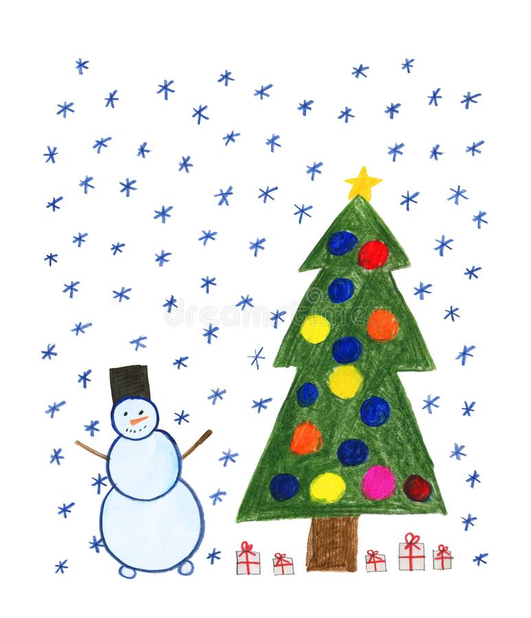 Children`s drawing with colored pencils. Snowman. Snowfall. New Year tree with toys and gifts. Isolated on white background stock illustration