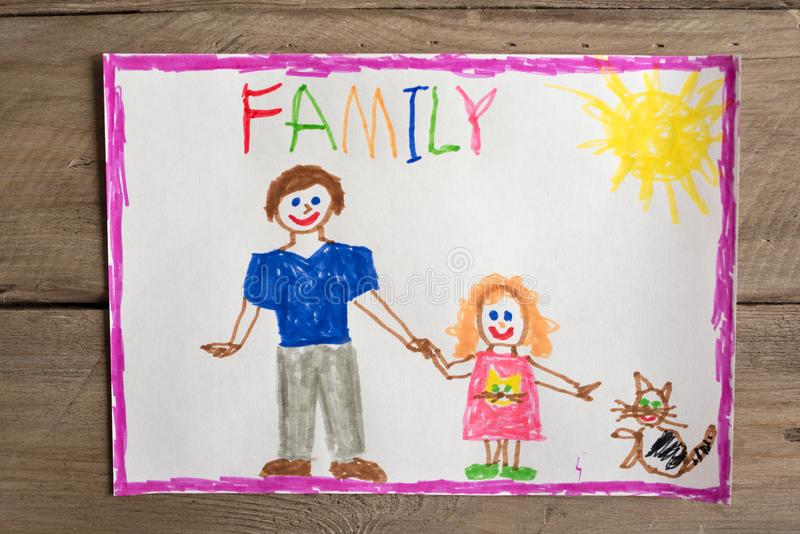 Incomplete family drawing. Children`s drawing of family single dad and daughter. Incomplete family concept royalty free illustration