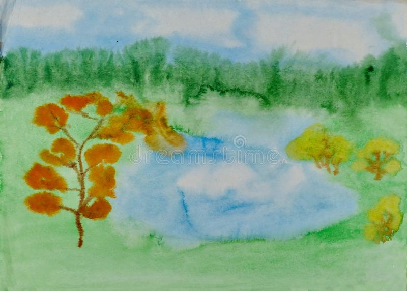 Children`s drawing `Forest Lake in Autumn`. Wet watercolor on paper. Naive Art. Abstract art. Painting wet watercolor on paper. stock illustration