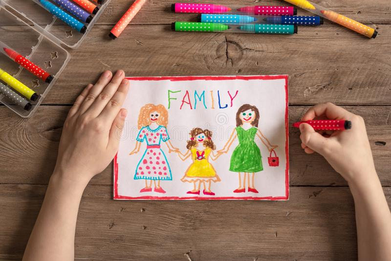 LGBT family drawing. Children`s drawing of LGBT family two moms and daughter. Same-sex homosexual family concept stock photo