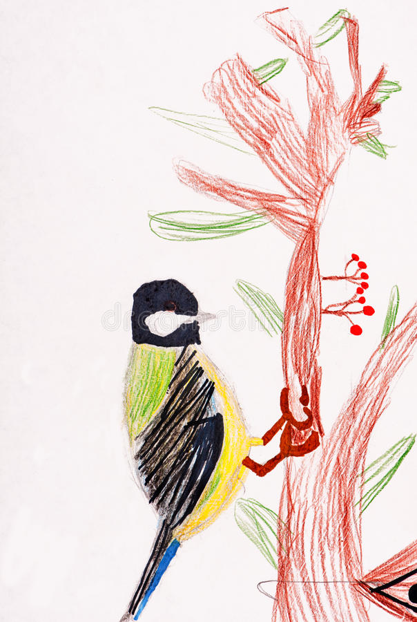 Download Children's Drawing. Little Bird Stock Illustration - Image: 26445387