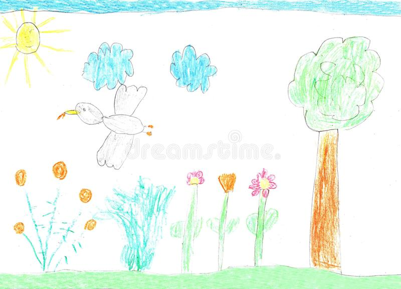 Children drawing nature, birds and flowers royalty free illustration