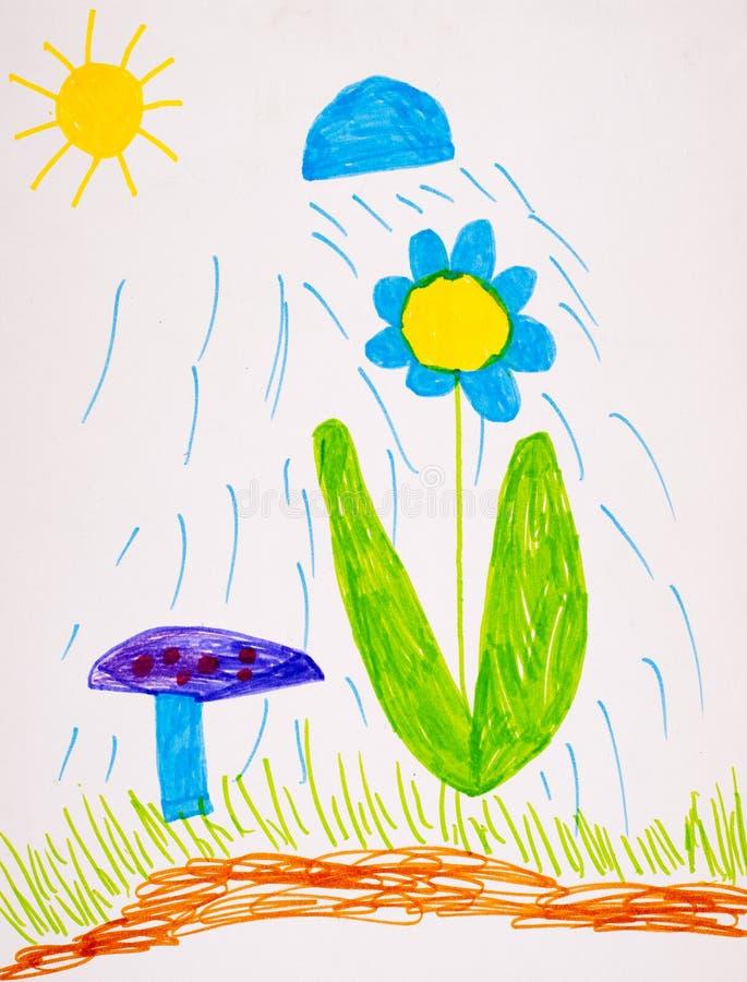 Children's drawing. rain waters the flower. Children's sketch. rain waters the flower stock illustration