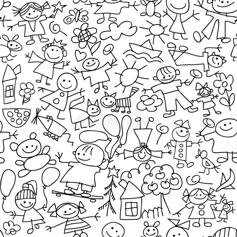 Download Children's Drawing - Seamless Pattern Stock Vector - Image: 14050651