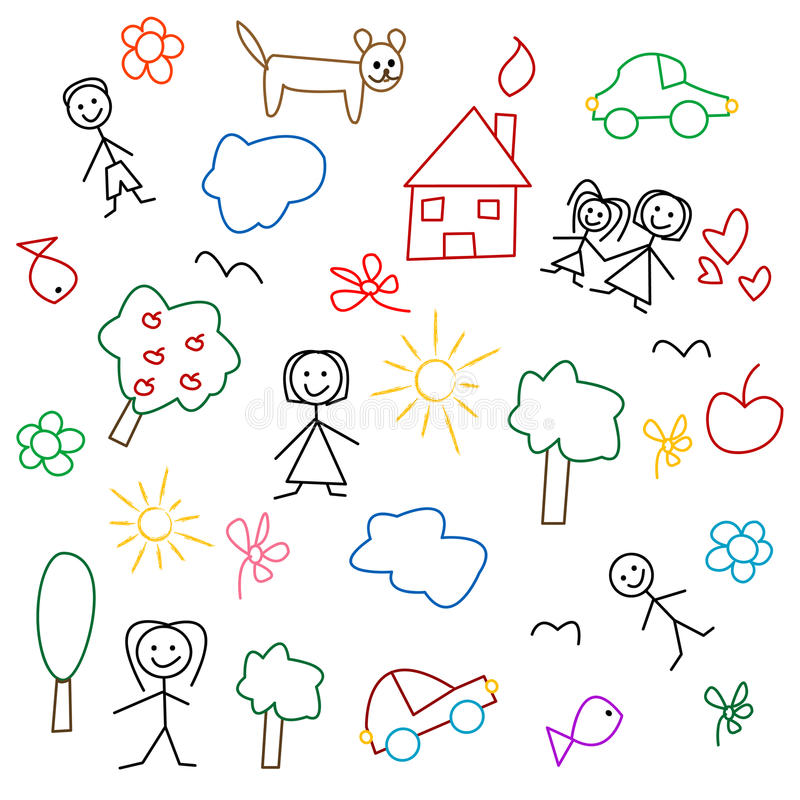 Children's drawing - seamless pattern vector illustration