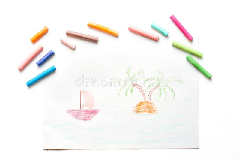 Children`s drawing summer vacation. Summer, palm trees. Multicolored crayons, pastel. vector illustration