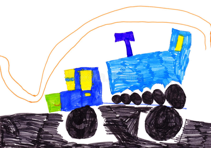 Children's drawing. trucks stock illustration