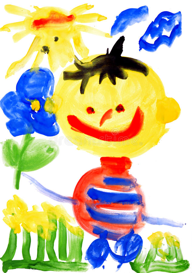 Children's drawing water color paints. On a paper