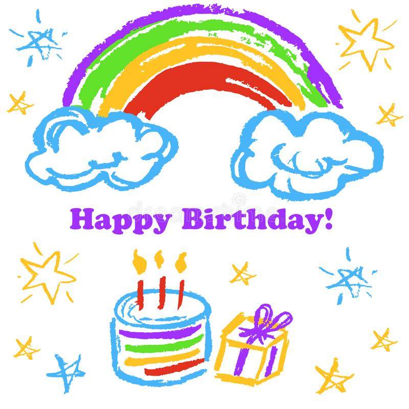 Children`s drawings. Greeting card, flyer, banner. Happy Birthday Rainbow cake gift royalty free illustration