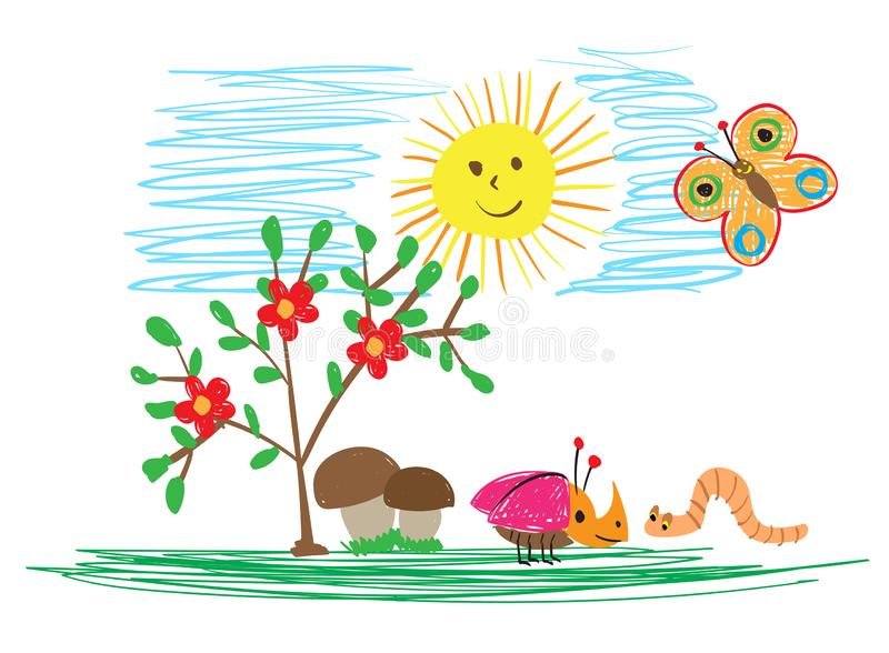 Children`s drawings of insects, the sun and flowers. The child draws summer. Children`s drawings of insects, the sun and flowers. Vector child draws summer stock illustration