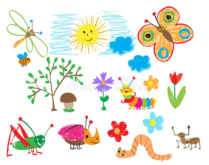 Children`s drawings of insects, the sun and flowers. The child draws summer stock illustration