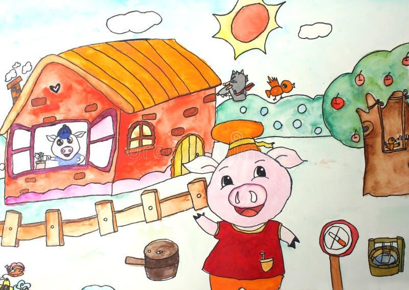 Children's drawings. Three Little Pigs stock illustration