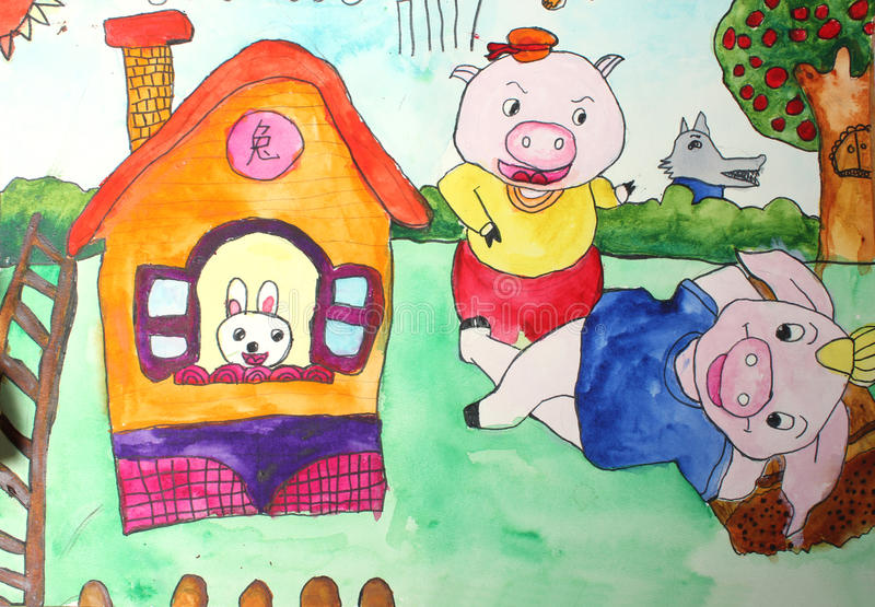 Children's drawings. Three Little Pigs royalty free illustration