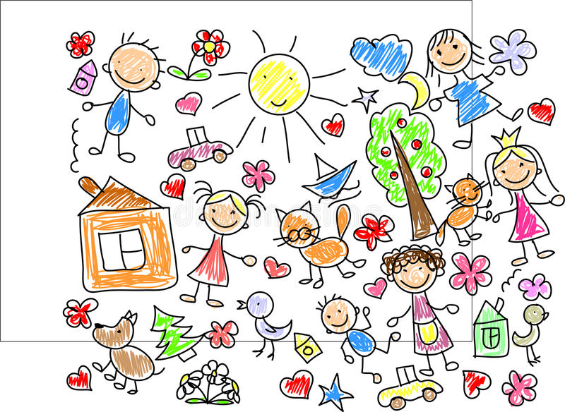 Download Children's drawings,vector stock vector. Image of abstract - 21863236