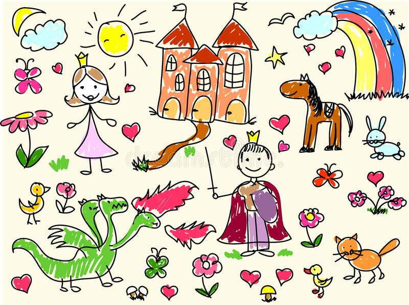 Children's drawings, vector royalty free stock image