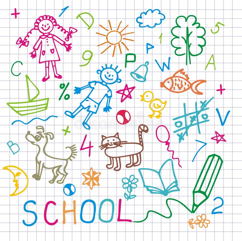 Children's drawings. Vector background. royalty free illustration