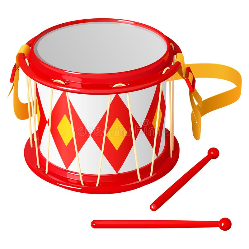 Children`s drum with chopsticks, bright red and yellow stock illustration