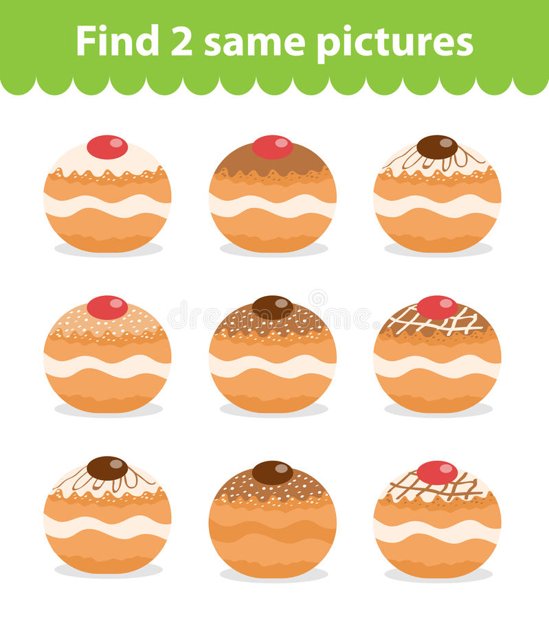 Children`s educational game. Find two same pictures. vector illustration
