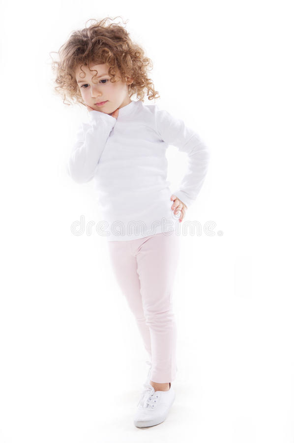 The children's emotions isolated. The children's emotions like happy, sad, funny, angry on white background royalty free stock photo