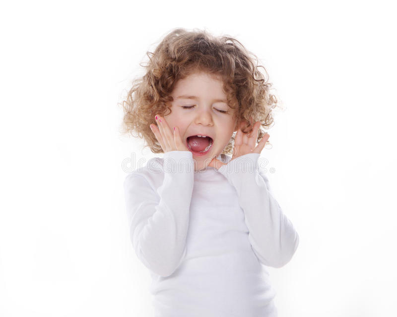 The children's emotions isolated. The children's emotions like happy, sad, funny, angry on white background stock photo