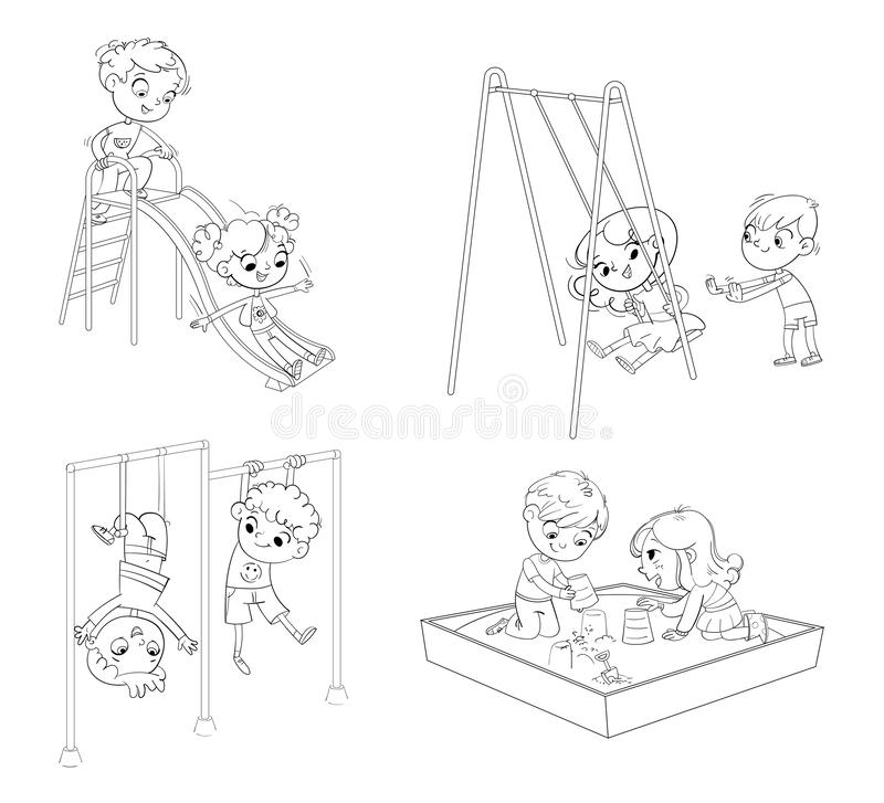 Recreation park. Playground. Kids zone. Place for games. Coloring book. Children`s entertainment complex with stairs and slides in recreation park.Kids train on stock illustration