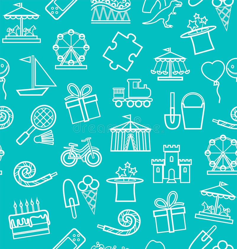 Children`s entertainment and leisure, background, seamless, contour, blue-green. Vector background with objects for the entertainment of children. White linear vector illustration