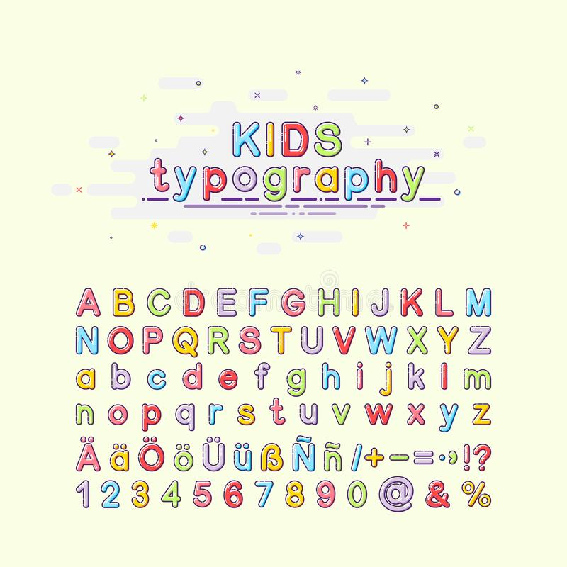 Children`s font in the mbe style. Colorful kids typography. Vector illustration of an alphabet. English, German and. Spanish letters stock illustration