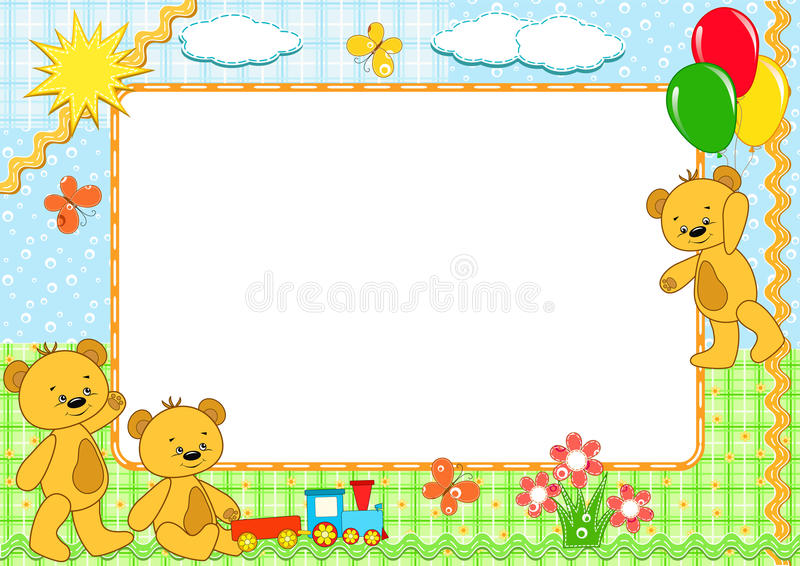 Children S Frame. Bears. Handmade. Royalty Free Stock Photos