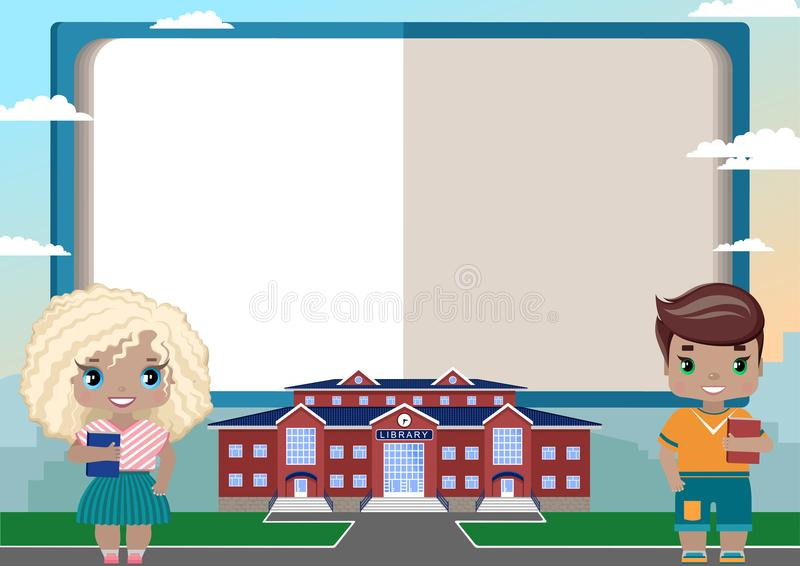 children`s frame in the form of an open book for text vector illustration