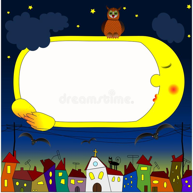Children's frame with the night sky stock photo