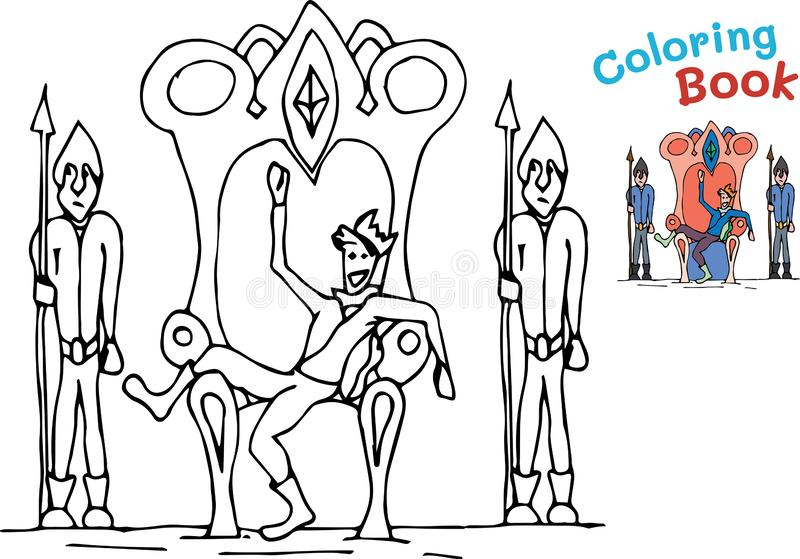 Children s fun coloring with a jester sitting in the throne of the king. Vector illustration stock illustration