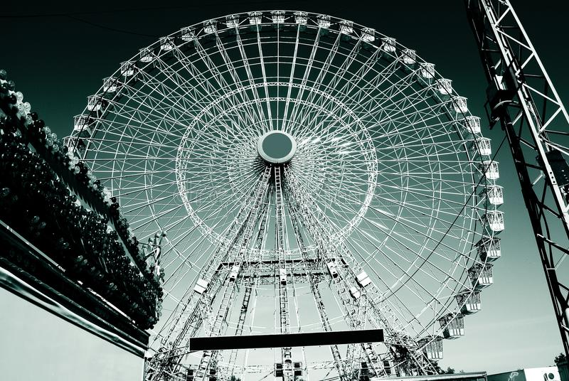 the ferris wheel flies to the sky royalty free stock image