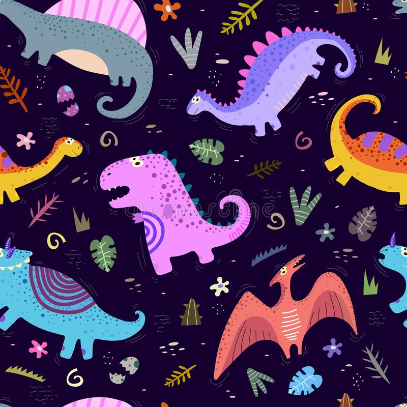 Children`s funny seamless pattern. Vector with colorful cute dinosaurs, decorative elements. hand drawing. Design for fabric, print, textile, wrapping paper stock illustration