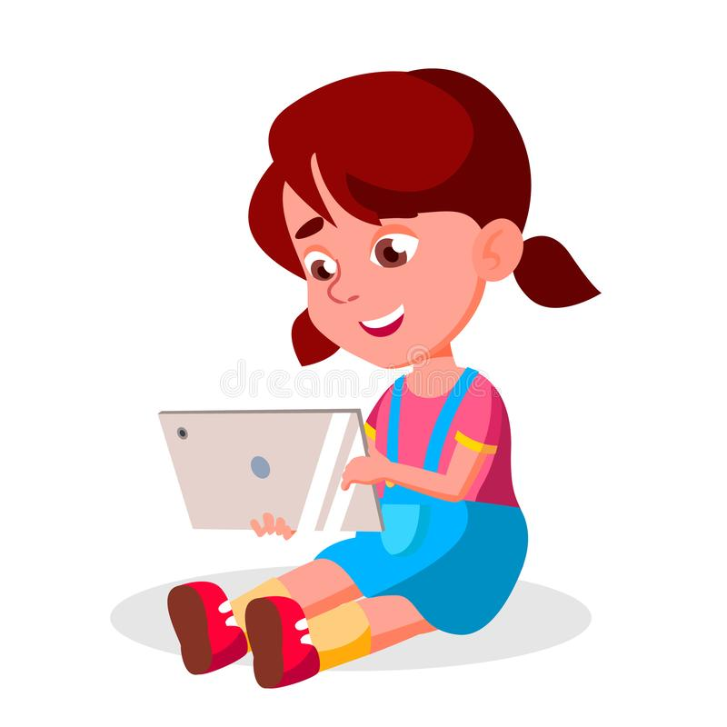 Children s Gadget Dependence Vector. Social Network Modern Problem. Watching Video, Playing Game. Isolated Cartoon stock illustration