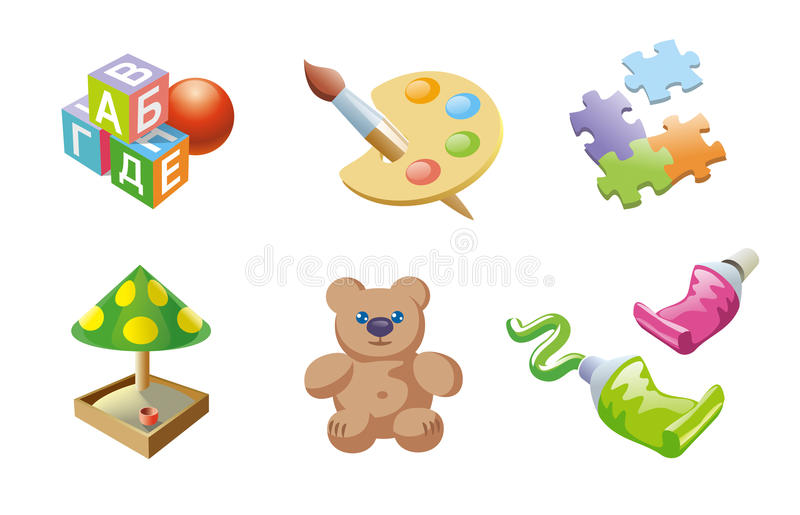 Childrens games icons set royalty free stock photography