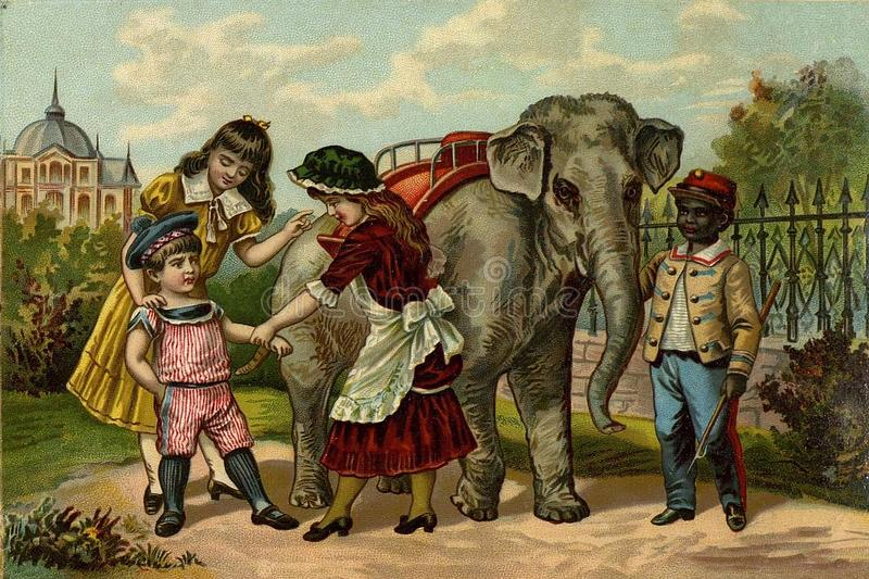Children`s games. Riding the elephant. These images are public domain. Book: Kids ` stuff. St. Petersburg 1891 vector illustration