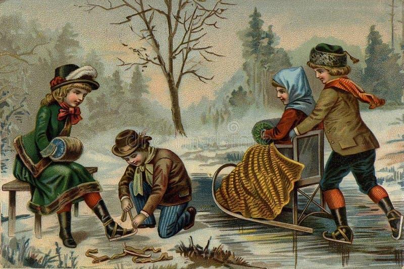Children`s games. Skating. stock illustration