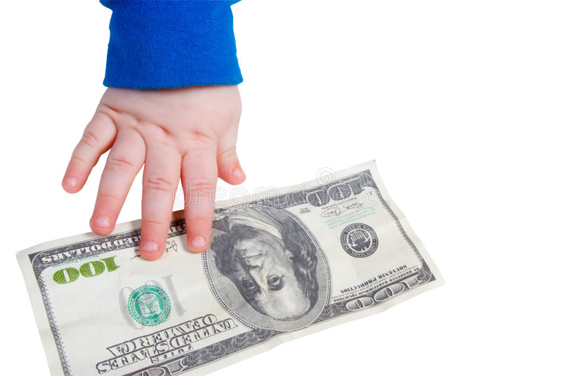 Children's hand and the dollar isolated royalty free stock image