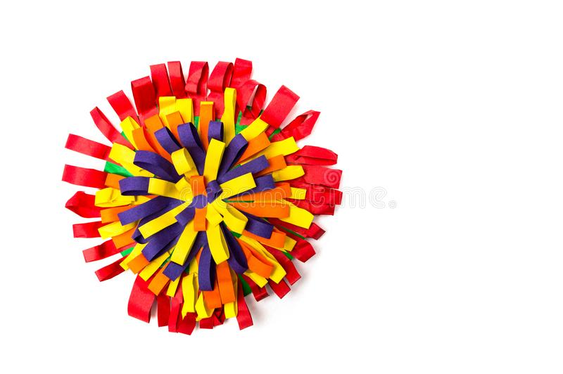Children`s handmade from colored paper - colourful flower. On white background stock photo