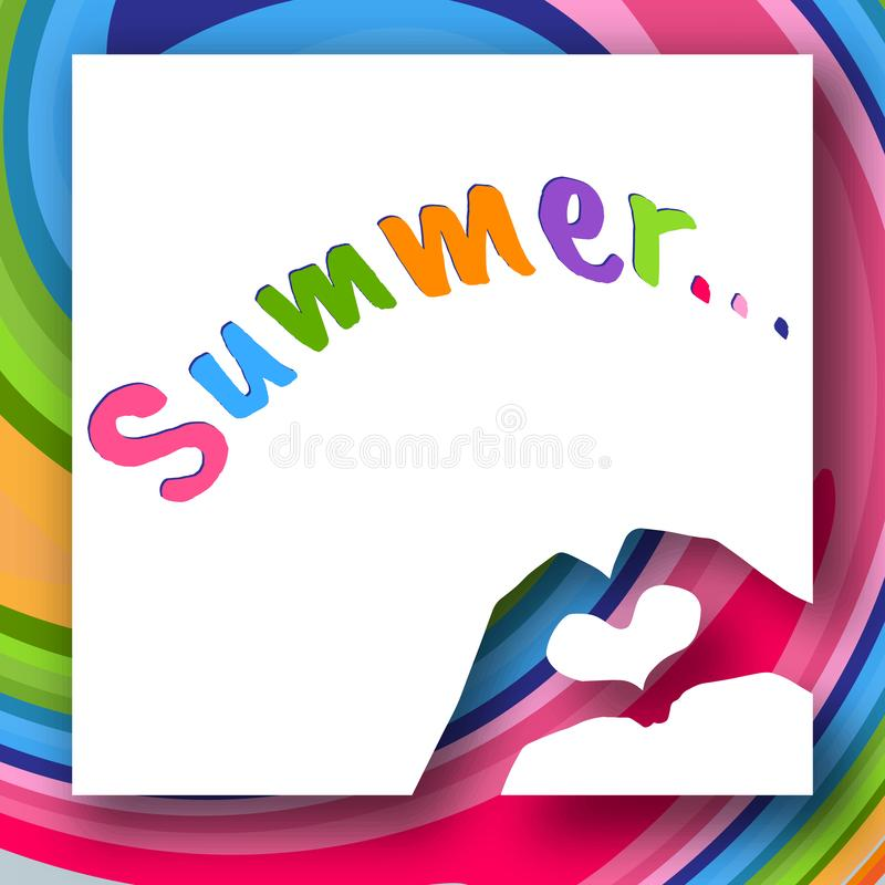 Children`s hands in the shape of heart and text Summer on a colorful abstract background Creative modern youth concept of posters vector illustration