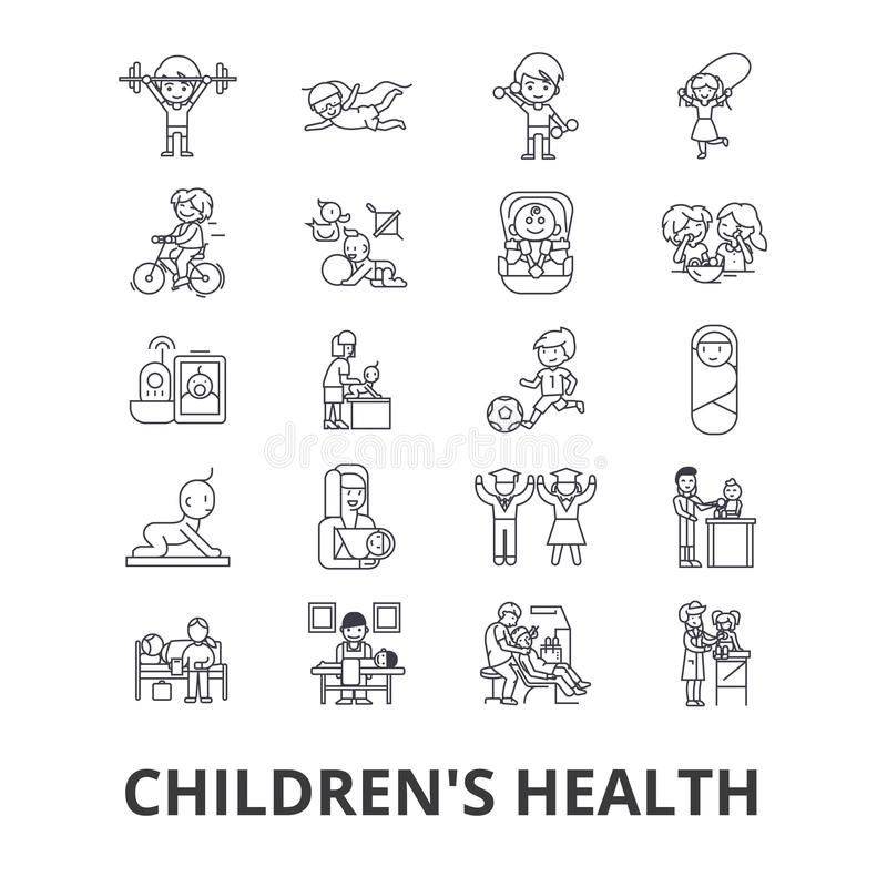 Children`s health, kids, eating healthy, doctor, playing, happy, nursery line icons. Editable strokes. Flat design stock illustration