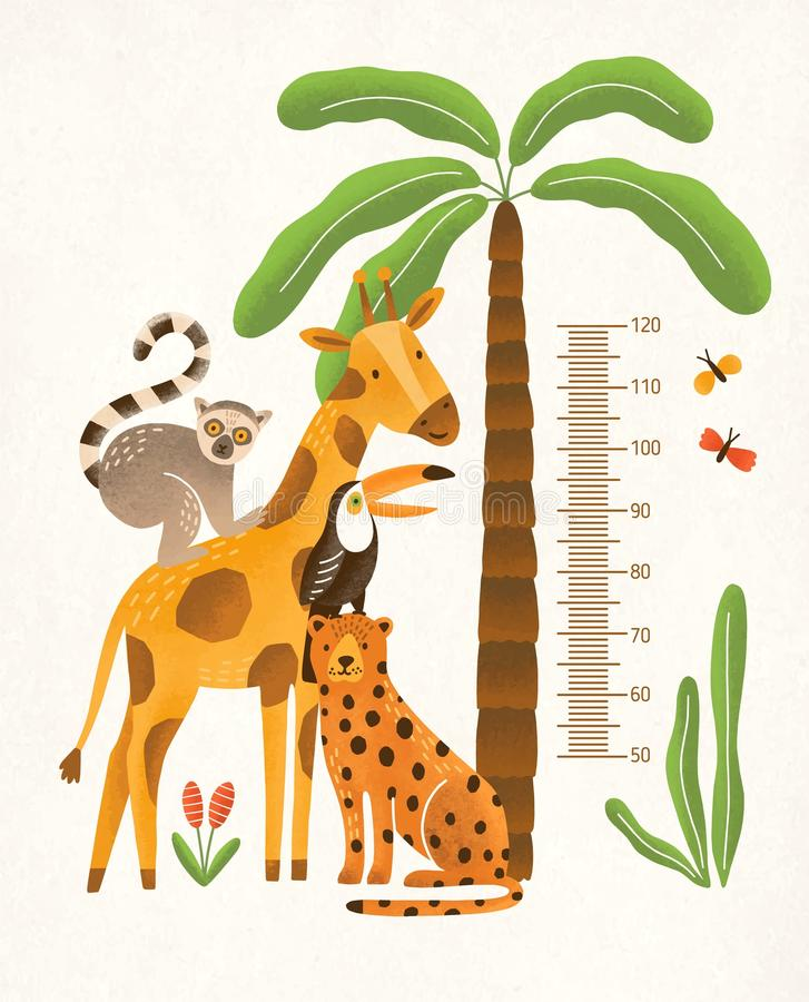 Children`s height wall chart in centimeters decorated with tropical palm tree, jungle plants and funny cartoon exotic. Animals. Colorful vector illustration in stock illustration