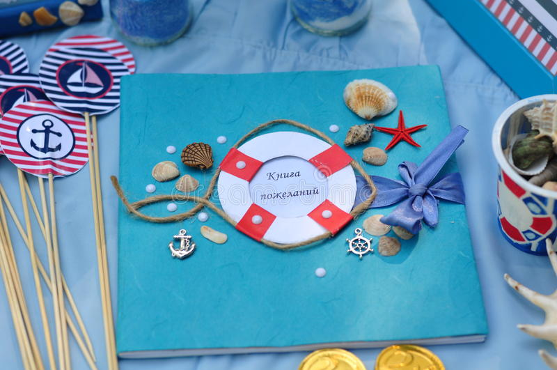 Children's holiday. Registration of the birth of the child in the marine theme royalty free stock photos