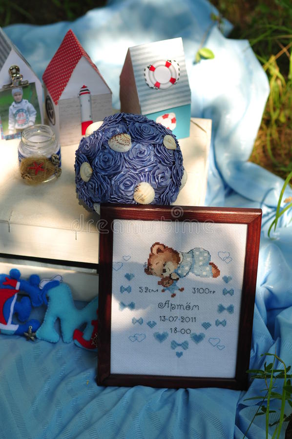 Children's holiday. Registration of the birth of the child in the marine theme stock photography