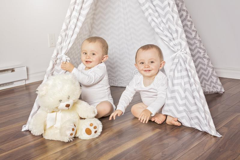 Children`s hut in the room. Interior of the children`s room royalty free stock photos